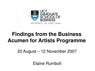 Findings from the Business Acumen for Artists Programme