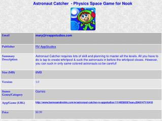 Astronaut Catcher  - Physics Space Game for Nook