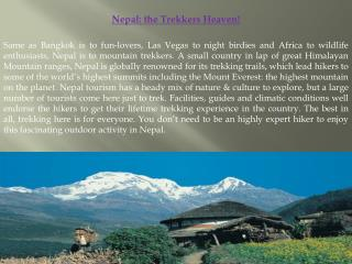 Nepal: the Trekkers Heaven!