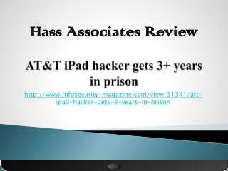 Hass Associates: AT&T iPad hacker gets 3+ years in prison