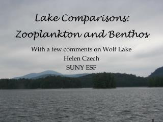 Lake Comparisons: Zooplankton and Benthos