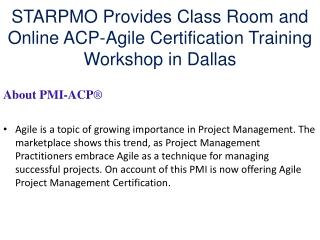 STARPMO Provides  ACP-Agile Certification Training in Dallas