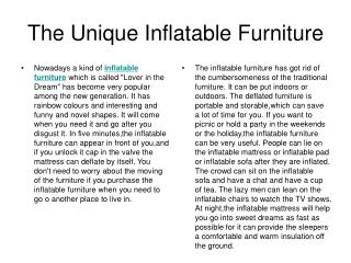 The Unique Inflatable Furniture