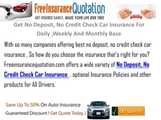 Get No Credit Check  No Deposit Car Insurance For Daily Week