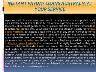 Payday Loans Australia