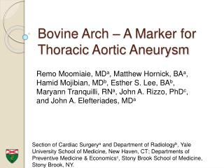Bovine Arch   A Marker for Thoracic Aortic Aneurysm