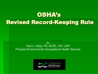 OSHA s  Revised Record-Keeping Rule