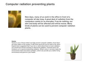 Computer radiation preventing plants