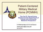 Patient-Centered Military Medical Home PCMMH