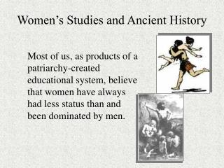 Women s Studies and Ancient History
