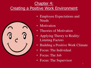 Chapter 4: Creating a Positive Work Environment
