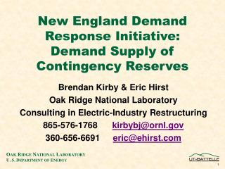 New England Demand Response Initiative: Demand Supply of Contingency Reserves