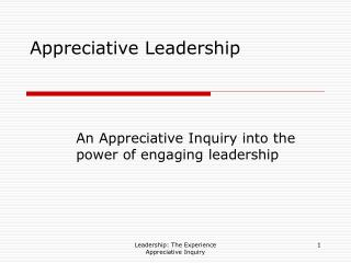Appreciative Leadership