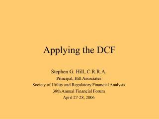 Applying the DCF