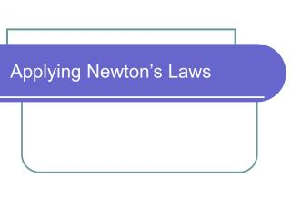 Applying Newton s Laws