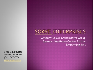 Anthony Soave's Automotive Group Sponsors Kauffman Center fo