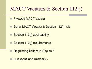 MACT Vacaturs  Section 112j
