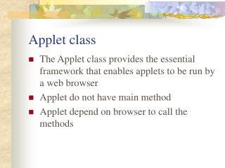 Applet class
