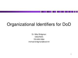Organizational Identifiers for DoD