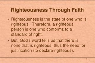 Righteousness Through Faith