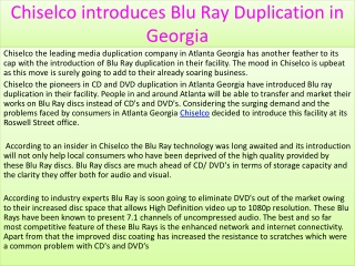 Chiselco introduces Blu Ray Duplication in Georgia