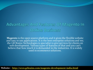 Advantages And Features Of Magento In Online Business