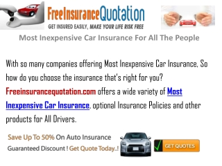 Most Inexpensive Car Insurance For All The People