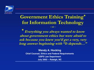 Government Ethics Training  for Infor