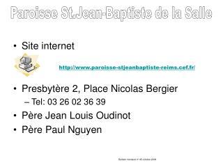 Paroisse St.Jean-Baptiste de la Salle http:paroisse ...