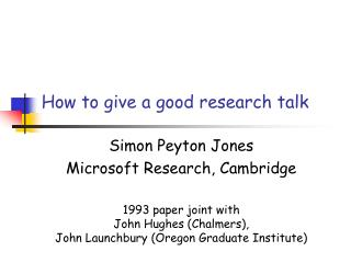 How to give a good research talk