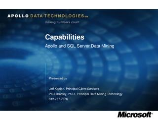 Capabilities Apollo and SQL Server Data Mining
