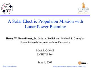 A Solar Electric Propulsion Mission with Lunar Power Beaming