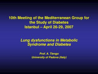 10th Meeting of the Mediterranean Group for the Study of Diabetes ...
