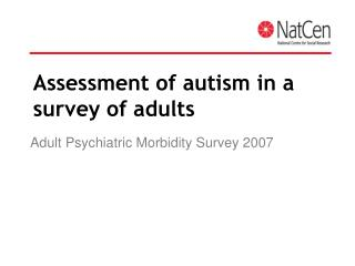 Assessment of autism in a survey of adults