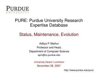 PURE: Purdue University Research Expertise Database Status ...
