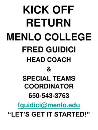 KICK OFF RETURN MENLO COLLEGE