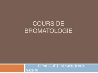 COURS DE BROMATOLOGIE