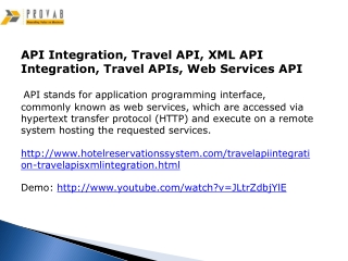API Integration, Travel API, XML API Integration, Travel API
