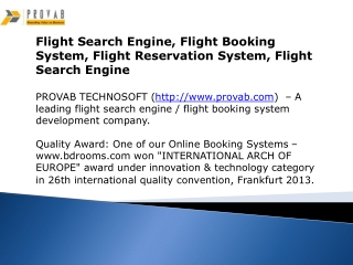 Flight Search Engine, Flight Booking System