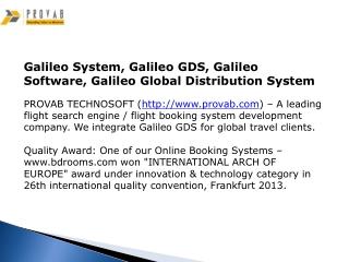 Galileo System, Galileo GDS, Galileo Software