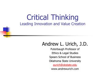 Critical Thinking Leading Innovation and Value Creation