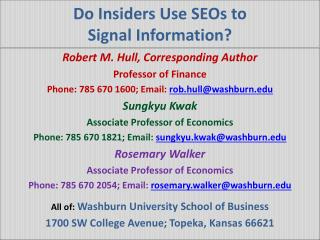 Do Insiders Use SEOs to Signal Information