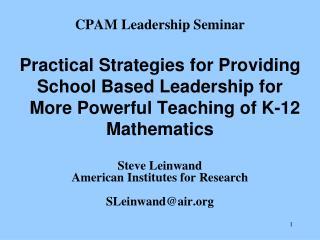 CPAM Leadership Seminar