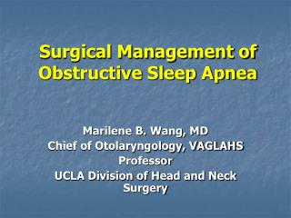 Surgical Management of Obstructive Sleep Apnea