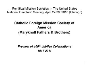 Pontifical Mission Societies In The United States National ...