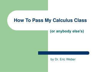 How To Pass My Calculus Class