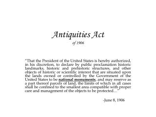 Antiquities Act of 1906