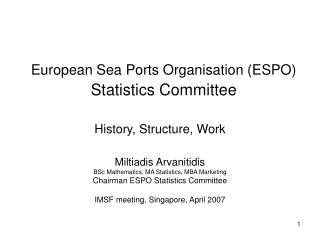 European Sea Ports Organisation ESPO Statistics Committee