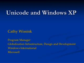 Unicode and Windows XP