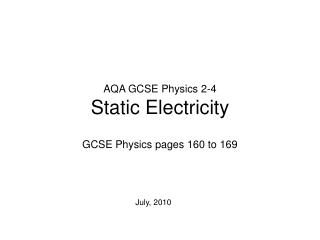 AQA GCSE Physics 2-4 Static Electricity